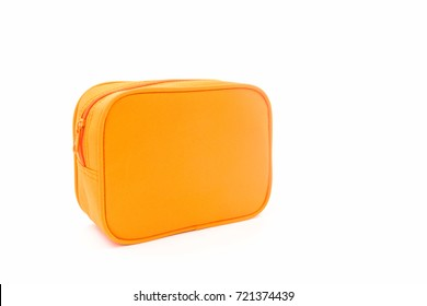 Oreng leather cosmetic bag on white background.
