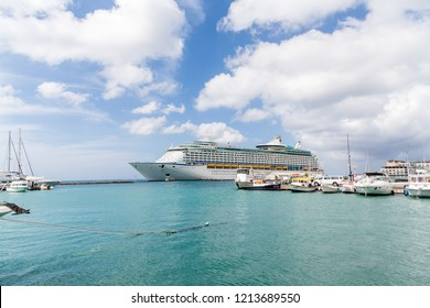 ORENJASTAD, ARUBA - December 11, 2014: Being south of the hurricane belt and because of the constant breeze, temperatures and little rain, Aruba is a year round tourist and cruise ship destination.