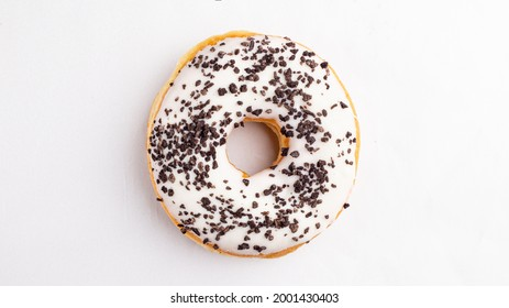 oreo cookie donut on a white background top view from above