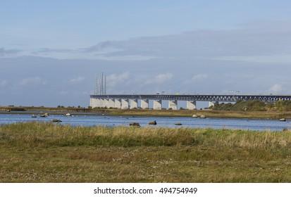 The Oresund bridge between Copenhagen Denmark and Malmo Sweden in the beginning of fall
