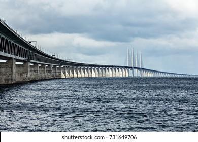Oresund Bridge connecting Sweden and Denmark.