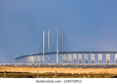 The Oresund bridge in early morning when fall storms