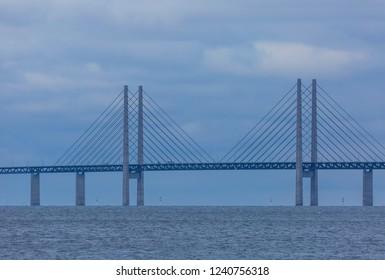 The Oresund bridge in a grey day in November