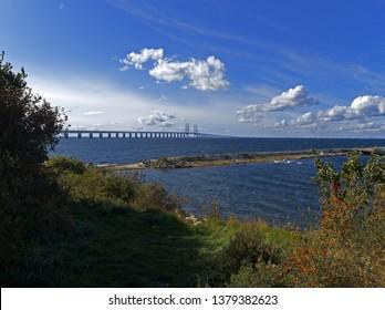 Oresund Bridge. View from Malmö, Sweden.