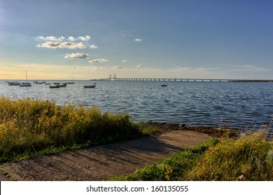 Oresund and Oresund Bridge viewed from the Swedish side.The bridge is 7845 meters long and continues into the Drogden tunnel which measures 4050 meters.