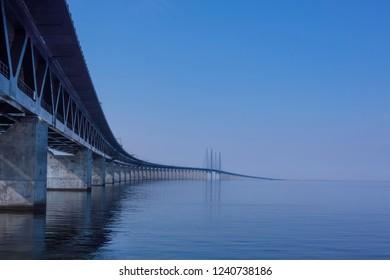 The Oresund bridge when calm water in Oresund