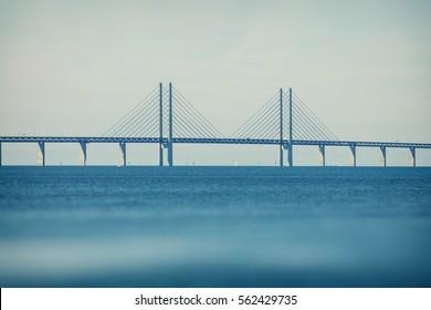 Oresund Bridge,oresunds bron, bridge on the sea ,architecture landscape in sweden