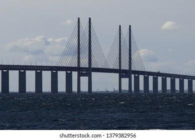 Oresund Bridge.View from Malmö, Sweden.