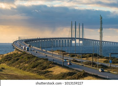 Oresunds bridge in Sweden, beteende Malmo and Denmark