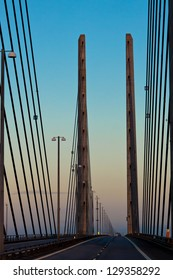 Oresundsbron. The link between Denmark and Sweden in early morning of fall. Also the recording location for the global Scandinavian TV-series The bridge.
