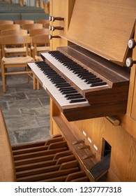 Organ keyboard, side view