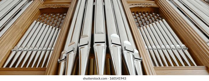 organ pipes close up in a circle