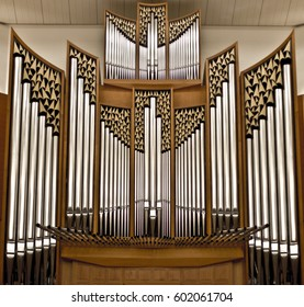 Organ pipes in a large concert hall . Musical instrument.