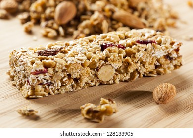 Organic Almond and Raisin Granola Bar on a background