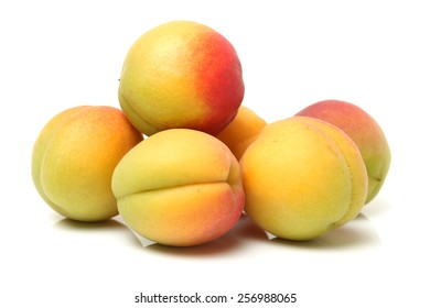 Organic apricots on a white background