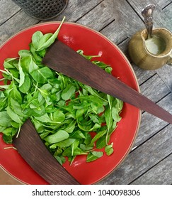 Organic arugula salad on rustic wooden table with artisanal setting outdoor picnic