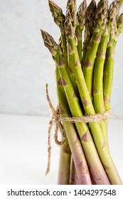 Organic asparagus in bunch, food close-up