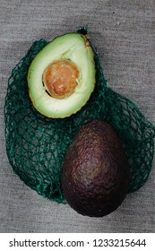 organic avocados on the grid - flat lay food photo