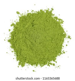 Organic barleygrass powder isolated on white background, top view