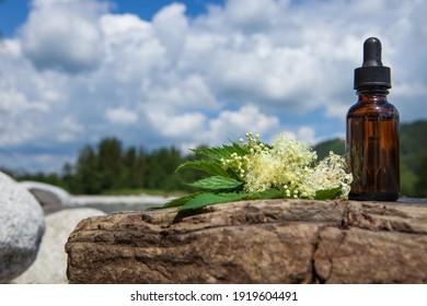 Organic bio alternative medicine, brown bottle. Space for text.