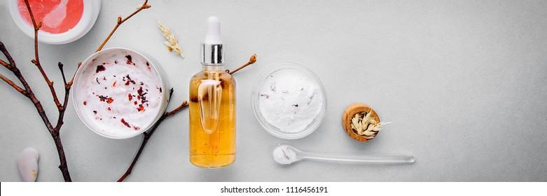Organic bio cosmetics with herbal ingredients .Natural extract of amber, gold. Oils serum .handmade