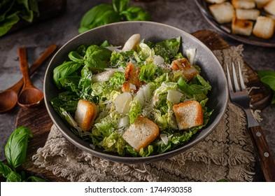 Organic bio salad with ceasar dressing and crispy bread