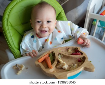 Organic bio vegetables with BLW method, baby led weaning. Happy vegetarian. Toddler eats by himself, self-feeding. mixed race boy. Enjoy food drinking by straw from the first a sip cup