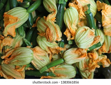 Organic blooming zucchini , or courgette flowers, at the rural market. Food background and texture