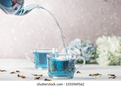 Organic butterfly pea blue tea in a cup