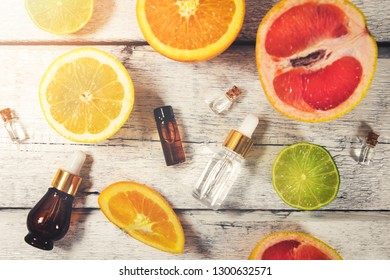 organic citrus fruit essential oils and cosmetics. top view