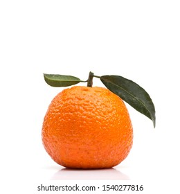 Organic clementine on white background with reflection