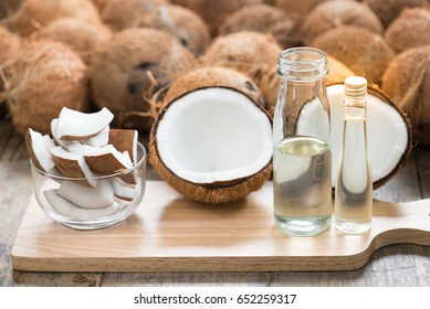Organic coconut oil in bottle. Raw coconut can make organic oil by cool process centrifuge for good fat no cholesterol . Pure Coconut oil can eat every day and wash or clean cosmetics