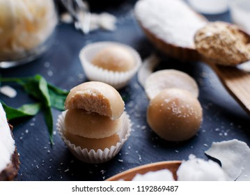 Organic coconut oil Peanut powder fat bomb from a Ketogenic Paleo Recipe