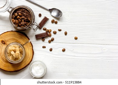 Organic cosmetics based on coffee top view wooden background