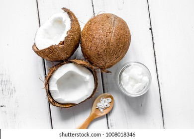 organic cosmetics concept with coconut on table background top v