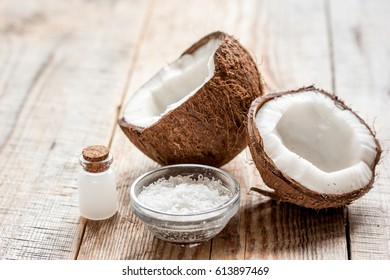 organic cosmetics concept with coconut on table background