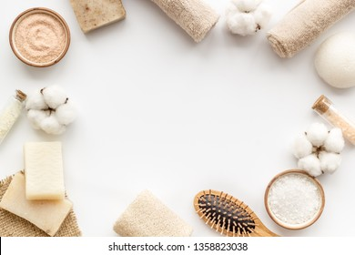 Organic cosmetics and eco materials for homemade spa on white background top view mock up