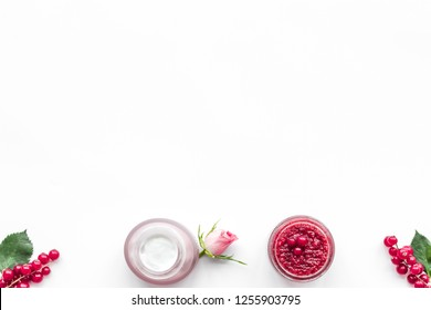 organic cosmetics for homemade spa with wineberry salt on white background top view mockup