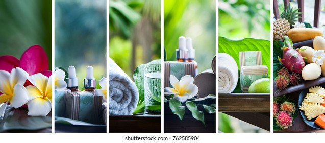 Organic cosmetics, natural fruit oils. Concept spa, skin care, ecological and organic natural cosmetics. Collage, set