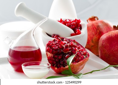 Organic cosmetics - Pomegranate, alternative medicine, healthy cosmetics concept