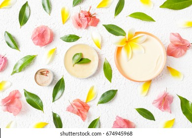 Organic cosmetics - top view of natural products