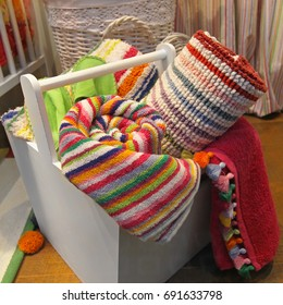 Organic coton colorful towels in wooden box