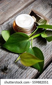 Organic creams, lotions for the face and body. Natural care for beauty health and youthful skin. Eco cosmetics on wooden table with green leaves