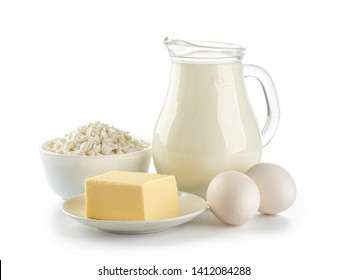 Organic dairy products isolated on a white background