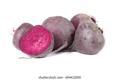 Organic dark red beetroot, isolated on a white background. Fresh and raw vegetables. Healthful and organic concept.