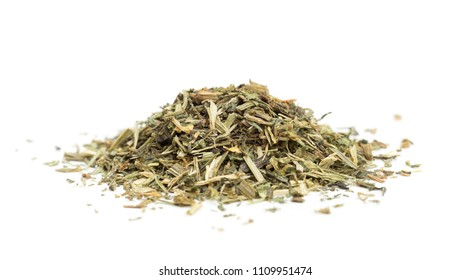 Organic dried cleavers pile isolated on white background