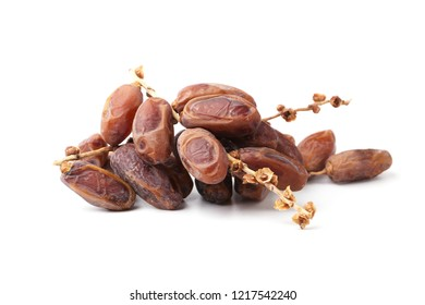 Organic dried dates palm fruits isolated on white background.