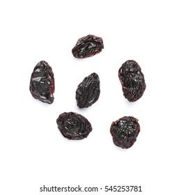 Organic dried Raisins isolated on white background.
