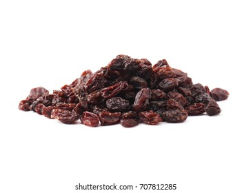 Organic dried Raisins isolated on white background.