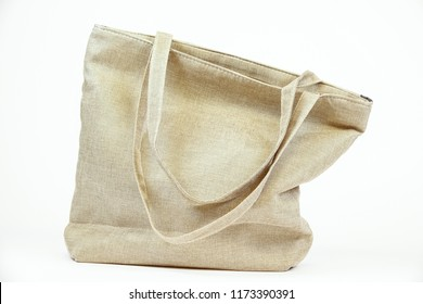 Organic eco shopping bag. Canvas tote bag. White background.